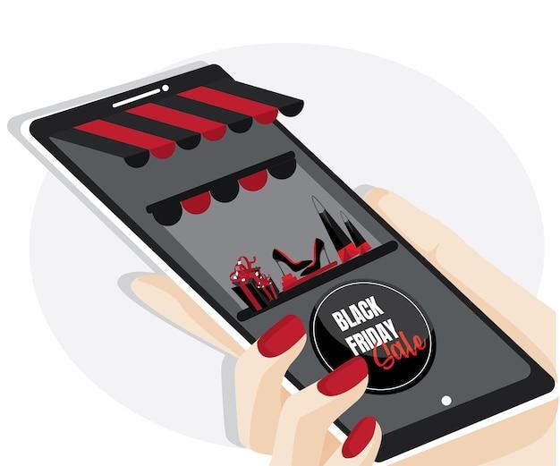 Verkauf am schwarzen freitag. online-shopping auf der website oder mobilen anwendung vektorkonzept-marketing und digitales marketing