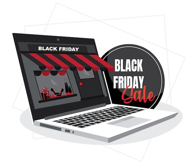 Verkauf am schwarzen freitag. online-shopping auf websites-konzepte mit isoliertem weißem hintergrund.