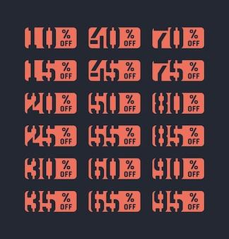Verkauf-aufkleber-prozent-rabatt-angebot typografisches design-vorlagen-set auf hintergrund isoliert. neue niedrigere preise ausverkauf 10, 15, 20, 25, 30, 35, 40, 45, 50, 55, 60, 65, 70, 75, 80, 85, 90, 95