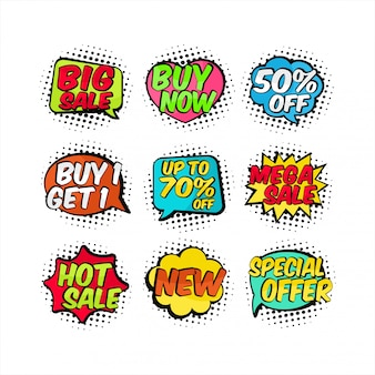 Verkauf banner comic bubble text sammlung