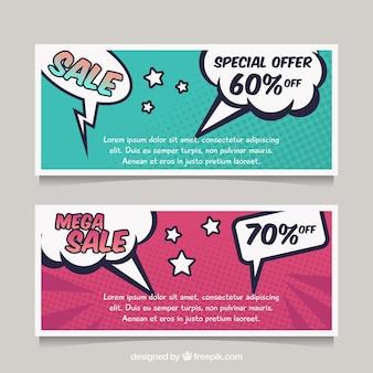 Verkauf banner im comic-stil