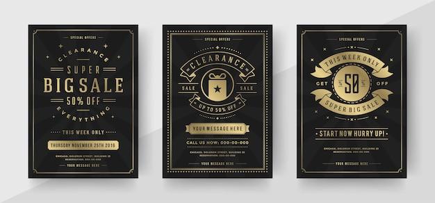 Verkauf banner oder poster vorlagen design mit rabatt nachrichten