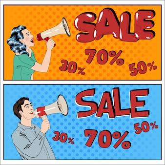 Verkauf banner pop-art-stil. frau und mann mit megaphon