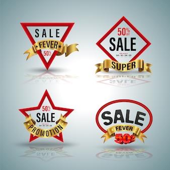 Verkauf banner set rote form und goldband illustration für promotion element poster werbung.