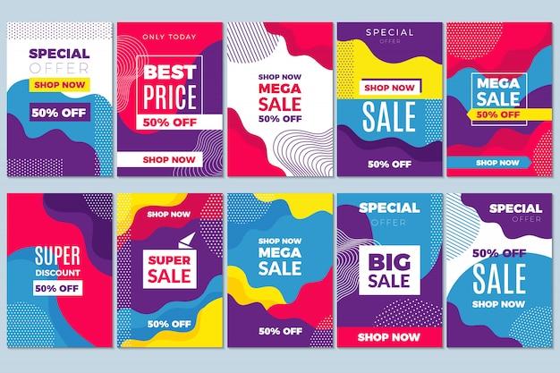 Verkauf bietet flyer. die speziellen marketing-tags der werbebanner-vorlage werden mit dem abstrakten mobilen hintergrund verworfen