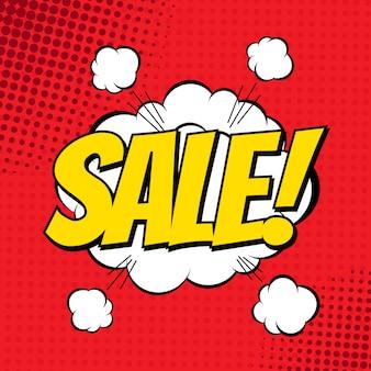 Verkauf comic-banner. explosionswolke. vektorillustration