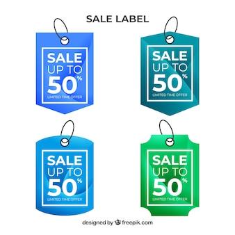 Verkauf etiketten kollektion in farbverlauf