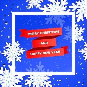 Verkauf-fahnenschablone der frohen weihnachten mit weihnachtselement. rotes band der steigung, realistische schneeflocken 3 d auf einem blau mit einem weißen rahmen.