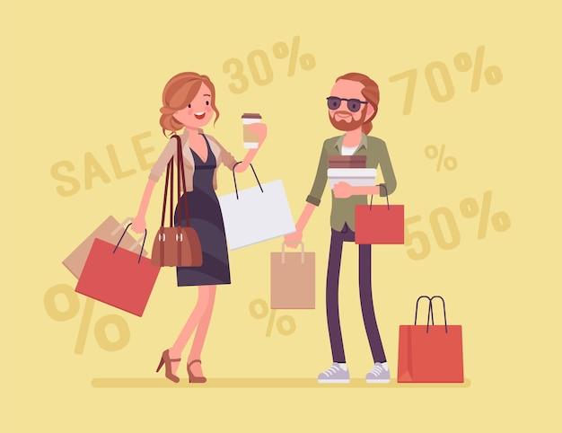 Verkauf für glückliches paar