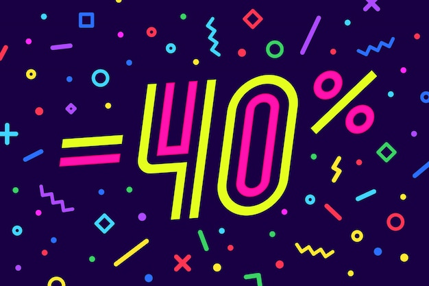 Verkauf. für rabatt, verkauf. von plakat, flyer und banner im geometrischen stil mit text. aufkleber, web-banner zum verkauf, rabatt. illustration