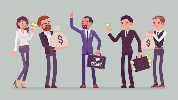 Verkauf geheimer informationen. der geschäftsmann bietet vertraulichen, geschützten datenaustausch gegen geld, wettbewerber, die marketingpläne kaufen, produktformel und kundenliste. stil cartoon illustration