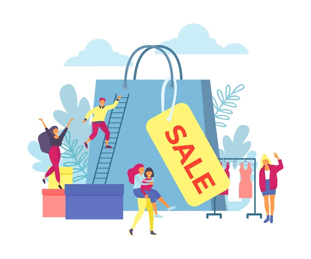 Verkauf, glückliche menschen und große einkaufstasche isoliert