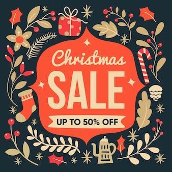 Verkauf halb weg von weihnachten im flachen design