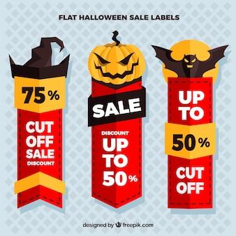 Verkauf halloween-aufkleber in flaches design