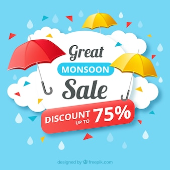 Verkauf hintergrund mit regenschirm zeichen
