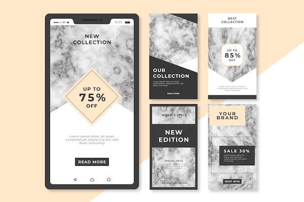 Verkauf instagram geschichten sammlung im marmorstil
