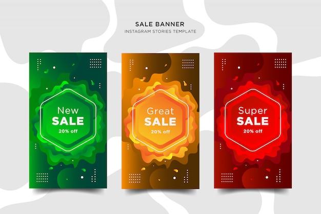 Verkauf instapost geschichten banner set