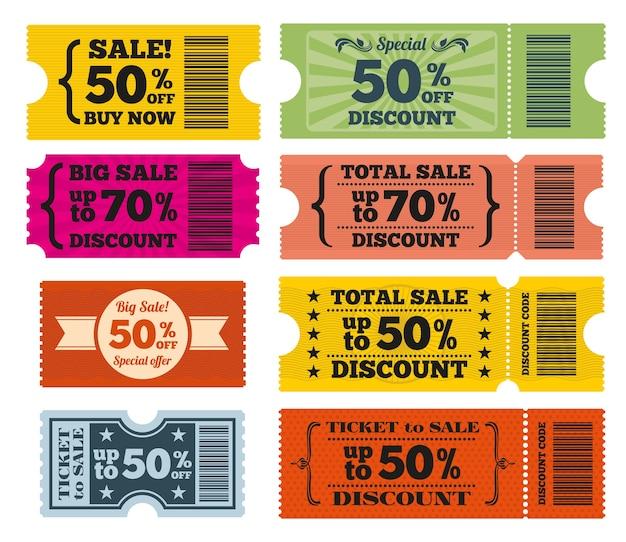 Verkauf karten vektor festgelegt