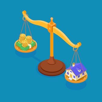 Verkauf kauf miete hypothek haus isometrisch