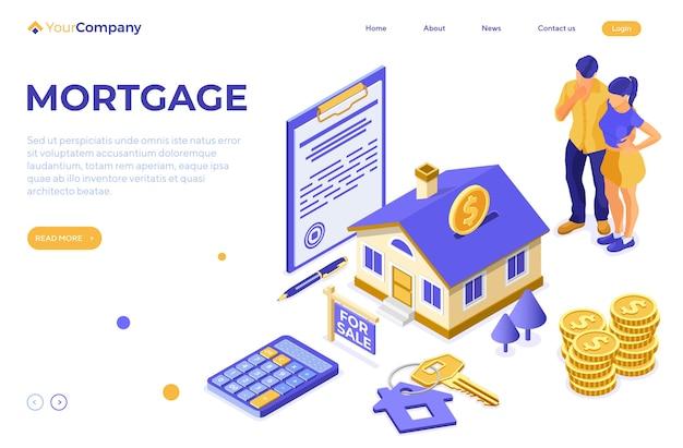 Verkauf, kauf, miete, hypothek haus isometrisches konzept mit haus als sparbüchse, schlüssel, zum verkauf zeichen, familie denkt, investiert geld in immobilien. zielseitenvorlage.