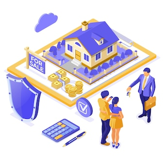 Verkauf, kauf, miete, hypothekenhaus isometrisches konzept