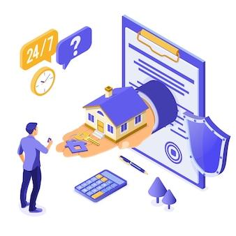 Verkauf, kauf, miete, isometrisches konzept des hypothekenhauses für plakat
