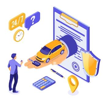 Verkauf, kauf, mietwagen isometrisches konzept für landung, werbung mit auto zur hand, mann mit kreditkarte, schlüssel, 24h support. autovermietung, fahrgemeinschaft, carsharing, versicherung. isoliert