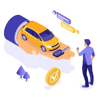 Verkauf, kauf, mietwagen isometrisches konzept für landung, werbung mit auto zur hand, mann mit kreditkarte, schlüssel, chat. autovermietung, fahrgemeinschaft, carsharing für städtereisen.