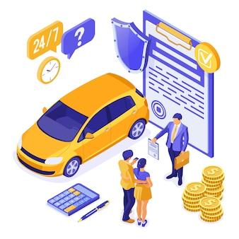 Verkauf, kauf, versicherung, mietwagen isometrisch für die landung, werbung mit dem auto, paar mit kreditkarte, makler, versicherer, unterstützung.
