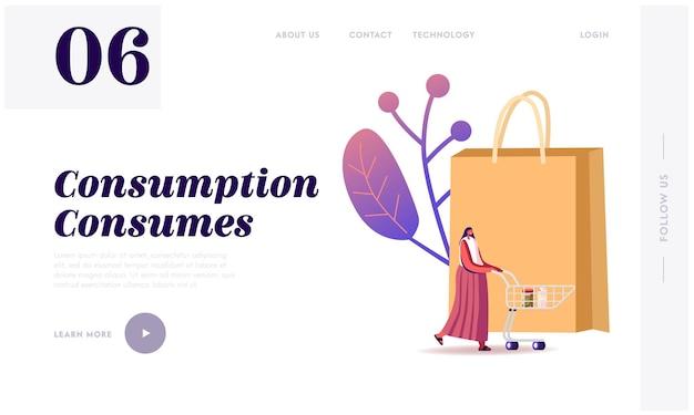 Verkauf, konsumismus landing page template.
