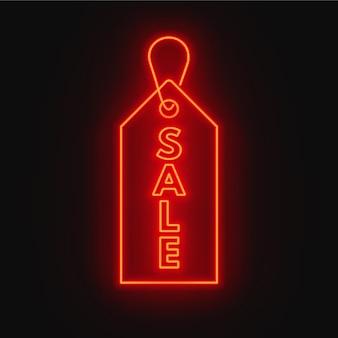 Verkauf leuchtreklame. werbetafel auf dunklem hintergrund.