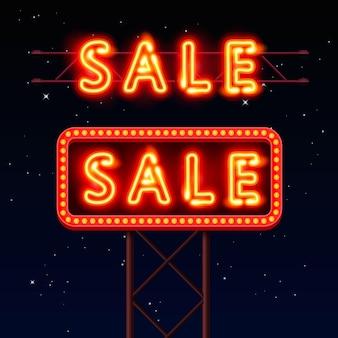 Verkauf neonschild banner auf rotem hintergrund. vektor-illustration