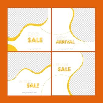 Verkauf social media post set mit textfreiraum in weißer und gelber farbe.