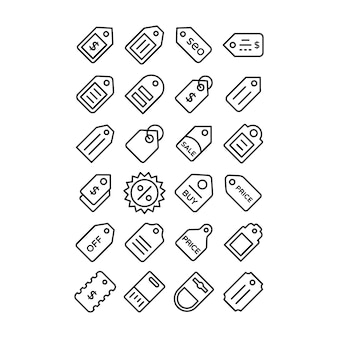 Verkauf tag line icons pack