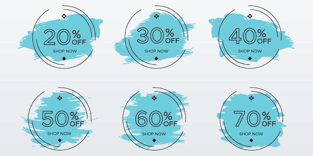 Verkauf-tags festgelegt. pinselstrich mit kreisrahmen-abzeichen-design für rabattförderung. vektor-illustration