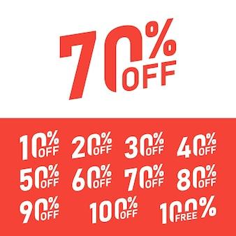 Verkauf-tags setzen vektor-abzeichen-vorlage, 10, 20, 30, 40, 50, 60, 70, 80, 90 prozent rabatt auf etikettensymbole, flaches symbol für rabattaktion, rote rosette für ausverkaufsaufkleber