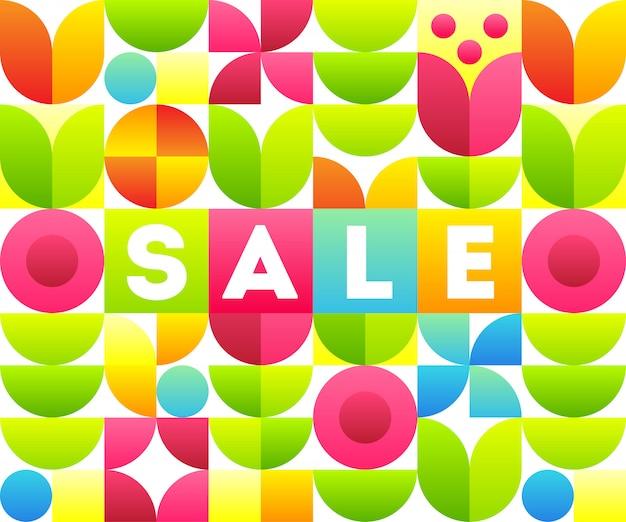 Verkauf. text mit abstraktem blumenmuster. stilvolle fahnenschablone.