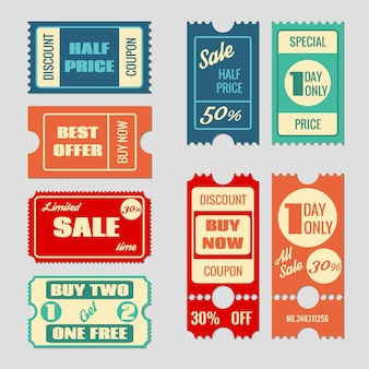Verkauf tickets vektorsammlung. coupon und kaufen, tag und preis, etikettenpapier, promotion rabatt illustration