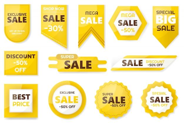 Verkauf und rabatt. embleme für große saisonverkäufe