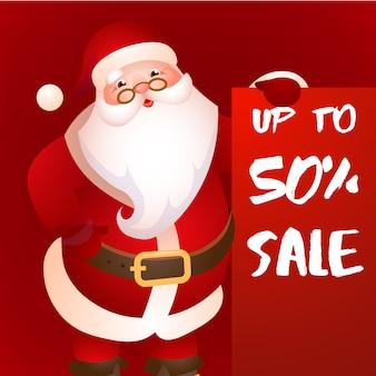Verkauf von bis zu fünfzig Prozent rotem Plakatdesign mit dem Weihnachtsmann