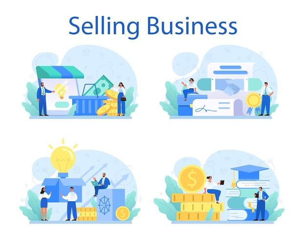Verkauf von business set illustration