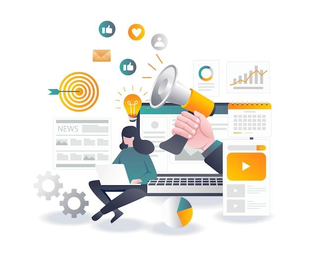 Verkauf von flachen designkonzepten in sozialen medien und digitalem marketing