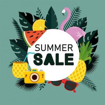 Verkauf von tropischen früchten mit flammen- und blattpflanzen