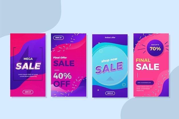 Verkauf von vorlagen für flüssige effekt-instagram-geschichten