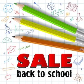 Verkauf, zurück zur schule schriftzug und buntstifte