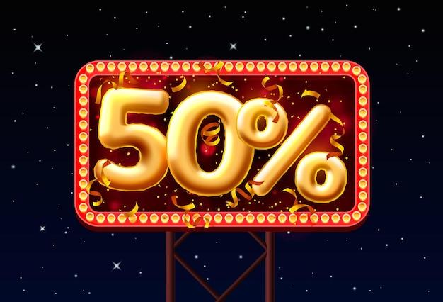 Verkaufen sie 50 ballon-nummer auf dem hintergrund des nachthimmels. vektor-illustration
