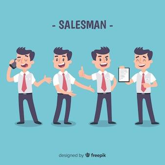 Verkäuferkollektion in verschiedenen Positionen