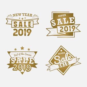 Verkaufs-ausweisvektorsatz des jahres 2019