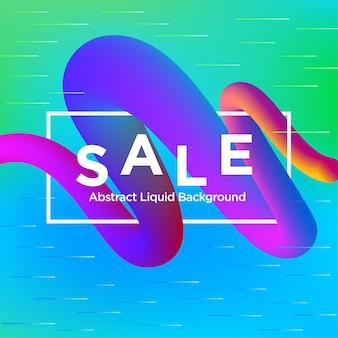 Verkaufs-fahne auf liquify fluid colour-hintergrund
