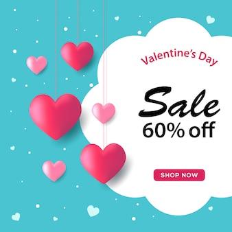 Verkaufs-fahnen-valentinsgrußes mit blauem hintergrund
